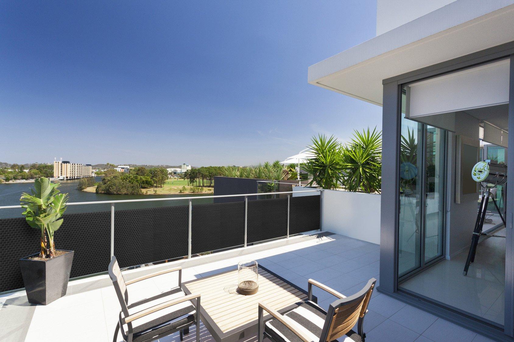 Balkonabdeckung// Balkon Sichtschutz//Rattanmatten mit Ösen zuschneiden alle 10 cm
